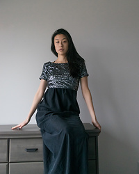 Gi Shieh - H&M Sparkle Crop Top, Urban Outfitters Black Dress - Still In A Sparkle Mood