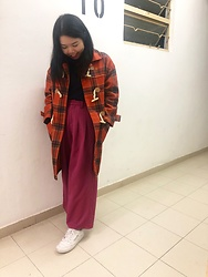 3xternal.dust - Thrifted Plaid Coat, Thrifted Knit Top, Thrifted Pants, Reebok Sneakers - 🍊