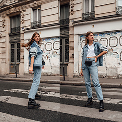 Jacky - Levi's® Denim Jacket, Levi's® Denim Jeans, Dr. Martens Boots - Wearing Denim on Denim in Paris