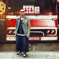 Mannix Lo - Remake Patchwork Vintage Denim Biker Jacket, Online Shop Denim Vest, Cotton On Tee, Rakuda Loose Fit Cropped Pants, Vans Sk8 Hi Sneakers - Past is in your HEAD, but Future is in your HAND
