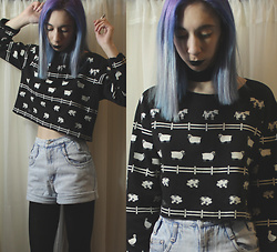 Brooke R. - Black Velvet Choker, My Grandmother's Closet Vintage Farm Animal Sweater, Thrift Store Super Faded High Waist Denim Shorts - If you can picture it it's real