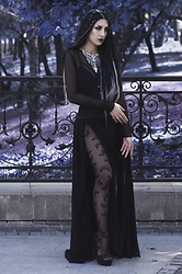 Ellone Andreea - Oysho Sheer Long Sleeve Top, H&M Multiple Strap Bra, Mesh Cincher, Diy Maxi Slit Skirt, Tezenis Butterfly Tights, Happiness Boutique Statement Silver Necklace, Parfois High Heel Sandals - Chrysalis