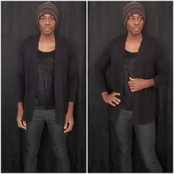 Thomas G - Chico's Travelers Glitter Tank Top, C.C Beanie, Stretch Denim Jeans, Sonoma Cardigan - Beanie | Cardigan | Stretch denim