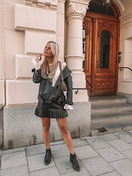 Emmy Nikolausson - Zara Leather Skirt, Nly Trend Leather Jacket, River Island Boots - BY STREETS IN STOCKHOLM ~