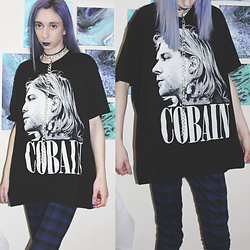 Brooke R. - Thrifted Cobain T Shirt, Joe Fresh Blue Plaid Pants, Handmade Choker And Chain - COBAIN