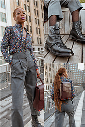 Opal S - Paul Smith Floral Shirt, Paul Smith Grey Pants, Paul Smith Lace Up Boots, Paul Smith Backpack - Menswear-inspired-Workwear