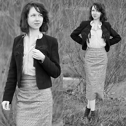 Claire H - Mango Blazer With Tassels, Edited Midi Skirt Graziana, H&M Cotton Shirt - Reminiscence