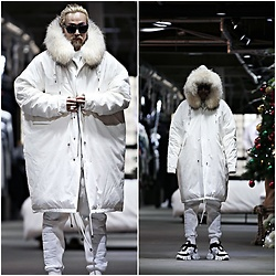 INWON LEE - Byther Raccoon Fur Ruffled Duck Down Jacket, Byther Brushed Bonding Stitch Leather Jogger White - White Raccoon Coat