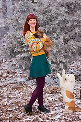 Bleu Avenue - Forever 21 Fair Isle Llama Knit Sweater, Forever 21 Teal Mini Skater Skirt - Puppies Are Forever