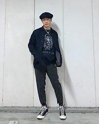 ★masaki★ - Newyorkhat Casquette, Neuw Denim Jacket, Sacred Bones Sweater, Ch. Trousers, Converse Ct70, Vitaly Padlock Necklace - Black Outfit