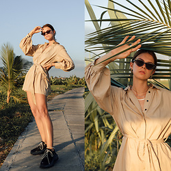 Jacky - Chimi Sunglasses, Baum & Pferdgarten Dress, Balenciaga Sneakers, Pilgrim Jewelry - Bali Outfit: sporty meets chic