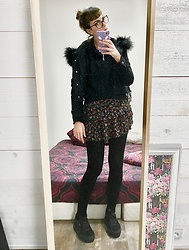 ♡Nelly Kitty♡ - Killstar Cropped Denim Jacket, The Kooples Floral Skirt - OOTD#79 Dirty Mirror