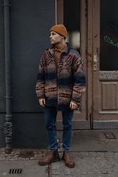 Kevin Elezaj - Dr. Martens Boots, Urban Outfitters Jeans, Vintage Jacket, A Day's March Overshirt, Cos Beanie - Vintage