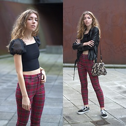 Alba Granda - Femme Luxe Black Top, Stradivarius Red Plaid Pants, Pull & Bear Fauxe Leather Jacket, Zaful Leopard Bag, Vans Back - Street Londoner
