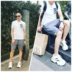 🎠DONG DIMAL - Mogao Ph White Polo, Mogao Ph Grey Stripe Shorts, Zara Grey Backpack, Zara White Shoes - Cool.greys....