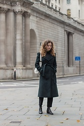 Summer R - & Other Stories Green Wool Structured Coat, & Other Stories Black High Rise Straight Jeans, Furla Pre Loved Hobo Bag - Wool Green Coat