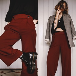 Kathrine Ottander -  - Plaid Blazer, Culotte Trousers and Sinclair Boots
