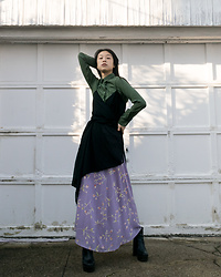 Gi Shieh - Uniqlo Green Button Down, Urban Outfitters Black High Low Dress, #Raidedmomscloset Purple Floral Skirt, Aldo Black Platform Boots - Sorry About The Inconsistent Posting!