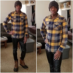 Thomas G - C.C Beanie, Urban Pipeline Ultimate Flannel, Faded Glory Faux Leather Leggings, Khombu Duck Boots - Thrifted top to bottom