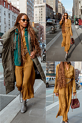 Opal S - Closed Denim Puffer Coat, Chloe Sunglasses, Scotch And Soda Teddy Jacket, Zara Maxi Dress, Coclico Ankle Boots, Polene Paris Handbag - Bundled Up