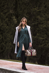 Maria Lucia Barrueta - Mtk Dress, Zaful Black Boots, Gucci Bag, Zaful Coat - Green Dress