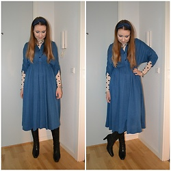 Mucha Lucha - Made By My Grandmother Dress, H&M Roll Neck Top, Second Hand Boots - Grandmother's dress