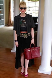 Shannon D - Ella Moss Jacket, Gucci Sunglasses, Vintage Belt, Hermès Bag, Ippolita Leather Wrap Bracelet, Rolex Watch, Alice + Olivia Skirt - Vintage Belt
