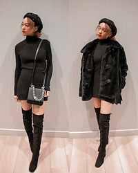 Kaya - Thigh High Boots, Pearl Beret, Faux Fur Coat, Cherry Pearl Earings, Black Body Con Turtle Neck Dress - Black Fox