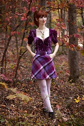 Bleu Avenue - Forever 21 Velvet Bach Cutout Top In Plum, H&M Pink Purple Plaid Skirt - Autumn Inspiration