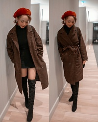 Kaya - Thigh High Boots, Black Turtle Neck Bodycon Dress, Check Long Tie Coat, Red Beret, Snowflake Dangle Ball Earrings - Coffee Date