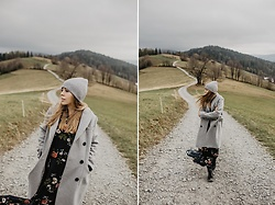 Aleksandra Szymiczek -  - Mountain look - maxi floral dress & coat