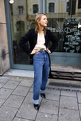 Anna Borisovna - Set Fashion Coat, Massimo Dutti Denim, Mango Shoes, Sezane Sweater - Massimo Dutti Denim Pants