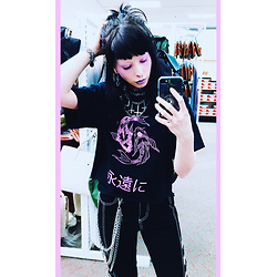 Ghoulette - Tripp Buckle Pants, Hot Topic Wallet Chains, Rue21 Eternally Tee - ✧・゚.*永遠に。☆ * .• °