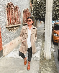 Javier M de la Rosa - Xicaru Slippers, Bershka Trousers, Zara Trench Coat, Zara Shirt, Aldo Shoes Sunglasses - The less I know better