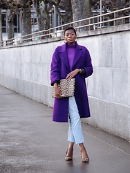 PAMELA - Zara Purple Wool Coat, Mango Purple Turtleneck, Macy's Leopard Print Pumps, Bando Leopard Print Clutch - Purple & Leopard