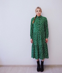 Marina Skater - H&M Dress, Zara Ankleboots - Green dress