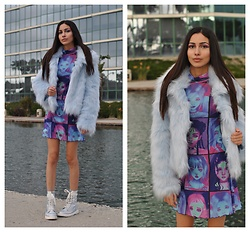 Ami Amour - Dollskill Cyber Doll Dress, Forever 21 Light Blue Faux Fur Coat, Clubexx Holographic Combat Boots - Cyber Doll