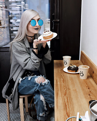 Kimi Peri - Blue Glasses, Skoot Apparel Fishnet Tights, Vii & Co. Ring Belt, No Face Choker, The Ragged Priest Plaid Boss Jacket, Madlady Ripped Boyfriend Jeans - Vegan Cronut Love