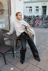 Anna Borisovna - Inscrire Sweater, Zara Pants, Mango Shoes, Céline Bag - The Leather Pants