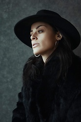Kayte Demont - Urban Outfitters Flat Brim Hat, Free People Earrings Hoops, Vintage Fur - Epitome of