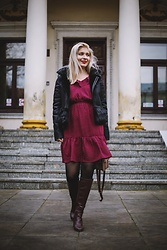 Aleksandra Siara - Shein Jacket - Dark red dress