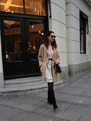 Jelena - Zara Camel Coat, Ray Ban Wayfarer Sunglasses, Asos Chunky Belt, Steve Madden Knee High Boots - Two toned boots