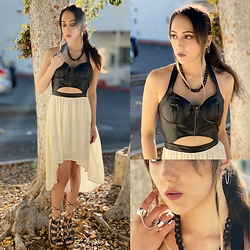 Genevieve Argueta - Claire's Re Hook Earrings, Connected Double Ring, Silicone Coated Mesh Chain Necklace, Tba Tie Up Black Sandals - Chillin' to the continuous hipster soundtrack that is LA...
