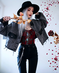 Kimi Peri - Vii & Co. Cropped Denim Jacket, The Ragged Priest Minnie Skinny Jean, Vii & Co. Cross Keychain, Solrayz Labradorite Necklace, Motel Yecal Bodice, Killstar Eternal Eclipse Fedora Hat, Etahlove Snakebite Necklace - Sweet Valentine 🥀🌹