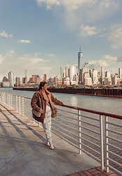 Mariamma Iris - Free People Velvet Jacket, Cynthia Rowley Sweater, Vintage Denim, Nine West White Boots - NYC Views