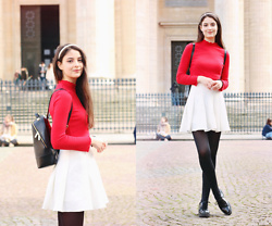 Nora Aradi - Frontrowshop Skirt, H&M Shirt, Ted Baker Bag, Alexandre De Paris Headband, Zara Flats - Happy Valentine's Day!