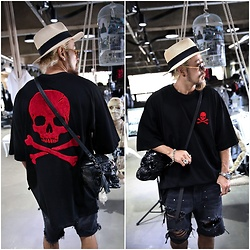 INWON LEE - Byther Skull Patch Relaxed Fit Short Sleeve Tee, Byther Straw Hat, Byther Skull Bag - Red Fuzzy Skull