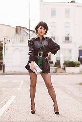 Weronika Bukowczan - Asos Black Shiny Jacket Shirt 80s Style, Green Sequin Mini Dress, Wide Black Statement Belt, Silver Clutch Bag, Leather Black Stilettos, Primark Fishnet Tights - #BoughtAtBHF