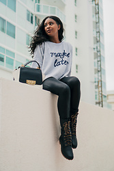Ria Michelle - Aerie Maybe Later Graphic Sweatshirt, Timberland Jayne Waterproof Gaiter Boots - Seeking Fall in Miami