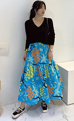 Miamiyu K - Miamasvin Multicolored Pattern Elastic Waist Skirt - Boho Blue